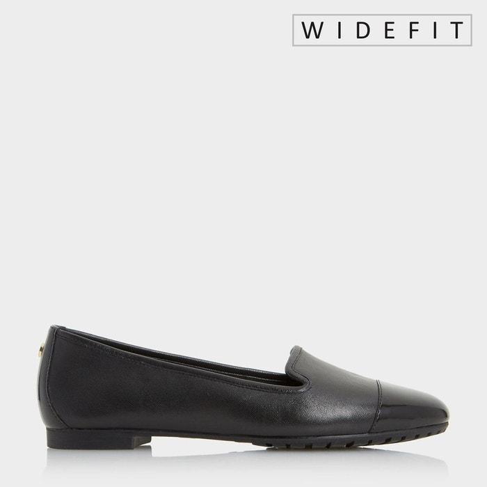 Chaussures à enfiler à bout rapporté pour pieds larges - w geneveve  noir cuir Dune London  La Redoute