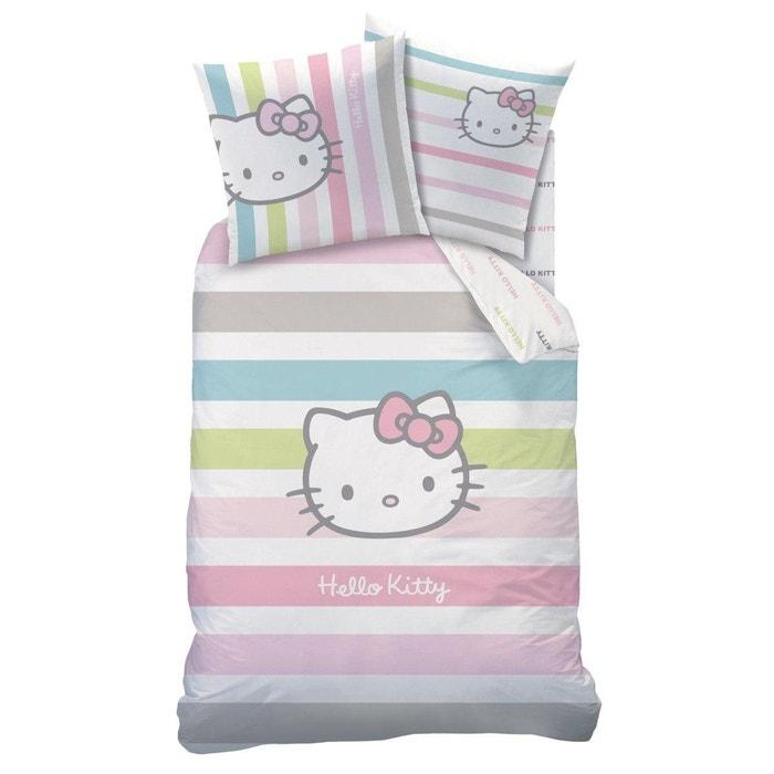 parure housse de couette taie pour enfant hello kitty hello kitty rose moyen la redoute. Black Bedroom Furniture Sets. Home Design Ideas