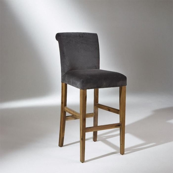 chaise de bar alix velours gris robin des bois la redoute. Black Bedroom Furniture Sets. Home Design Ideas