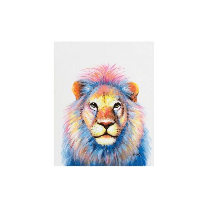 tableau animal pop art lion fabuleux couleurs vives multicolores 40x50cm multicolore pier import. Black Bedroom Furniture Sets. Home Design Ideas