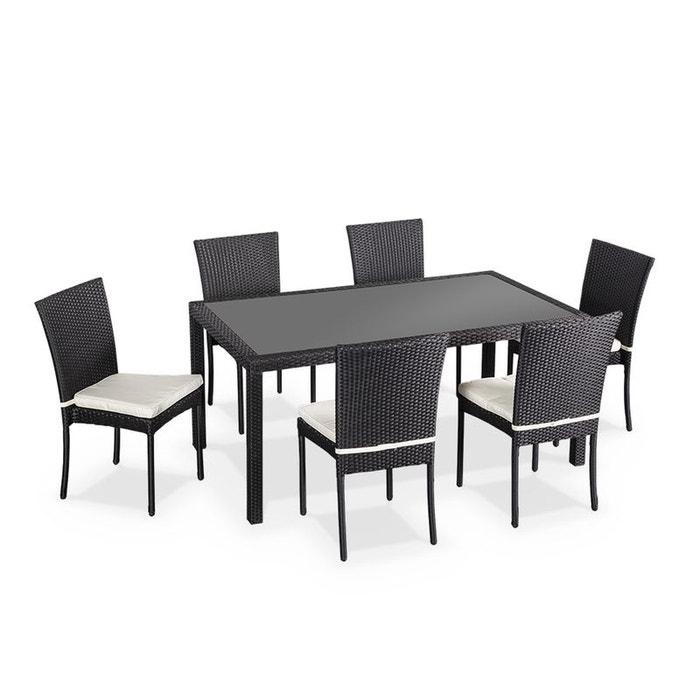 Salon de jardin en résine tressée 6 chaises, , table d\'extérieur design