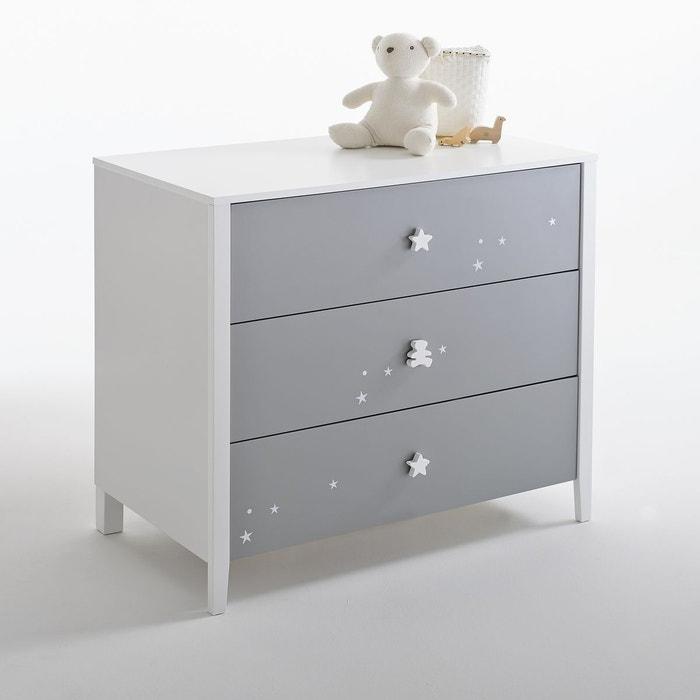 Commode 3 tiroirs enfant lulu castagnette gris blanc la redoute interieurs la redoute - Commode chambre fille ...