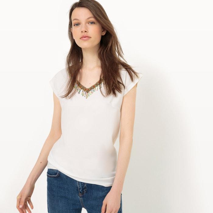 afbeelding T-shirt met details in franjes, korte mouwen LPB WOMAN