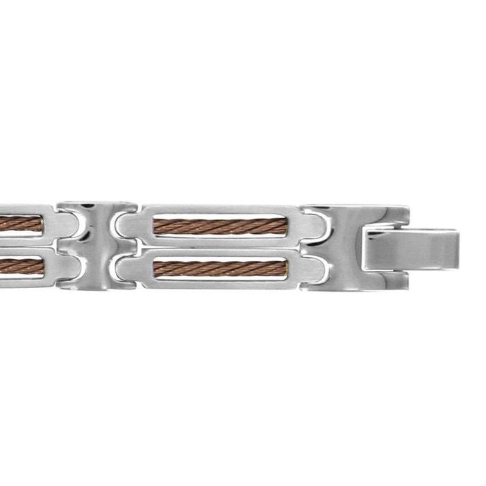 Bracelet homme longueur réglable: 20,5 à 22 cm maillon 2 câbles marron acier inoxydable couleur unique So Chic Bijoux   La Redoute