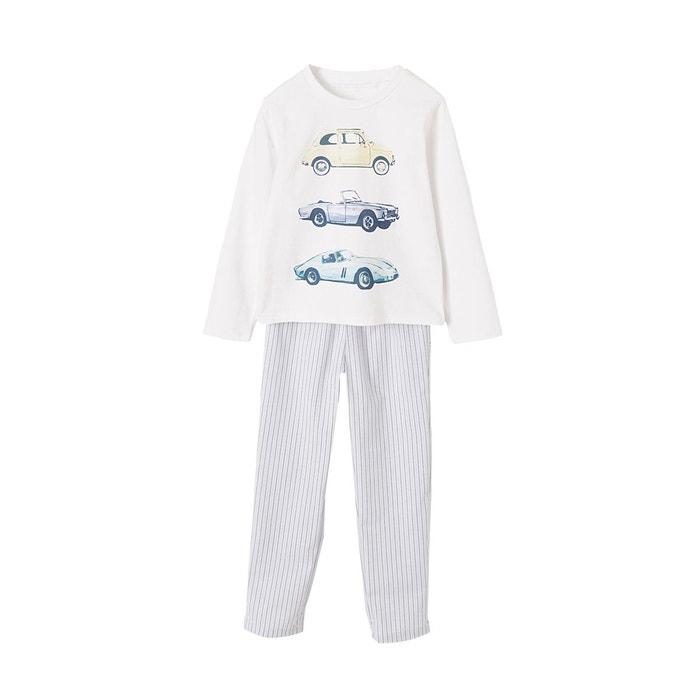 98cc976967183 Pyjama garçon bi-matière bleu grise raye Vertbaudet