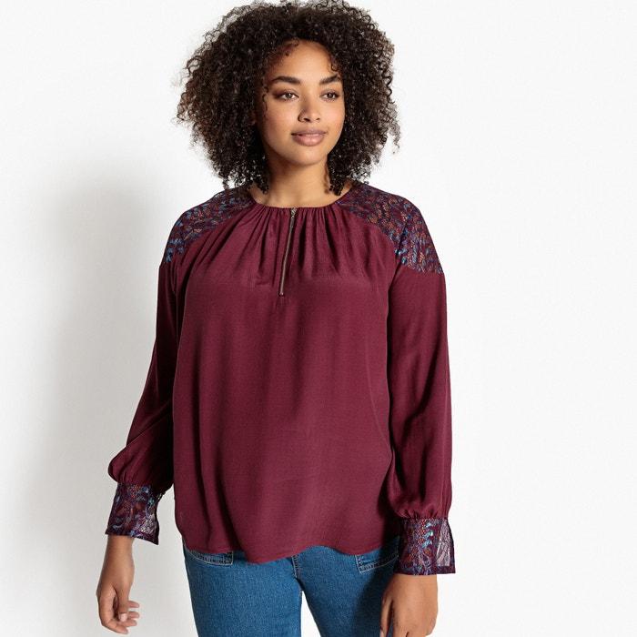 Guipure Lace Sleeves Zip-Front Blouse  CASTALUNA image 0