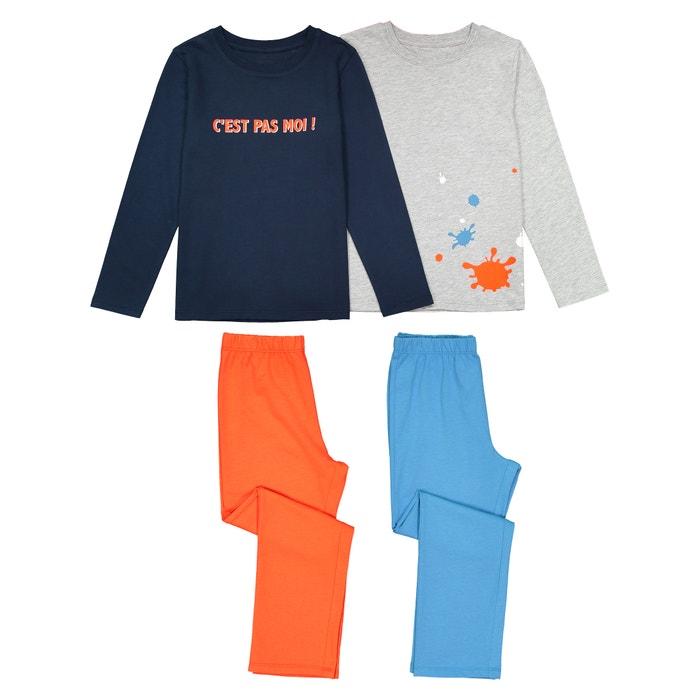 ce1218a0132 Lote de 2 pijamas estampados con mensaje alegre