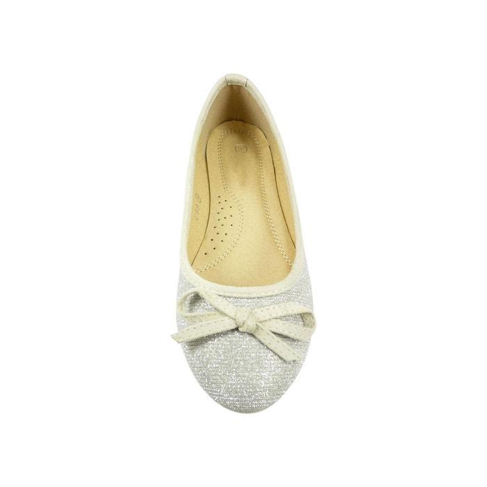 Ballerines en toile et brillante à noeud chaussure femme, bout rond argent Chaussmaro