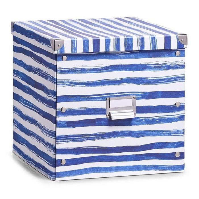 bo te de rangement cubique carton d co bord de mer bleu. Black Bedroom Furniture Sets. Home Design Ideas