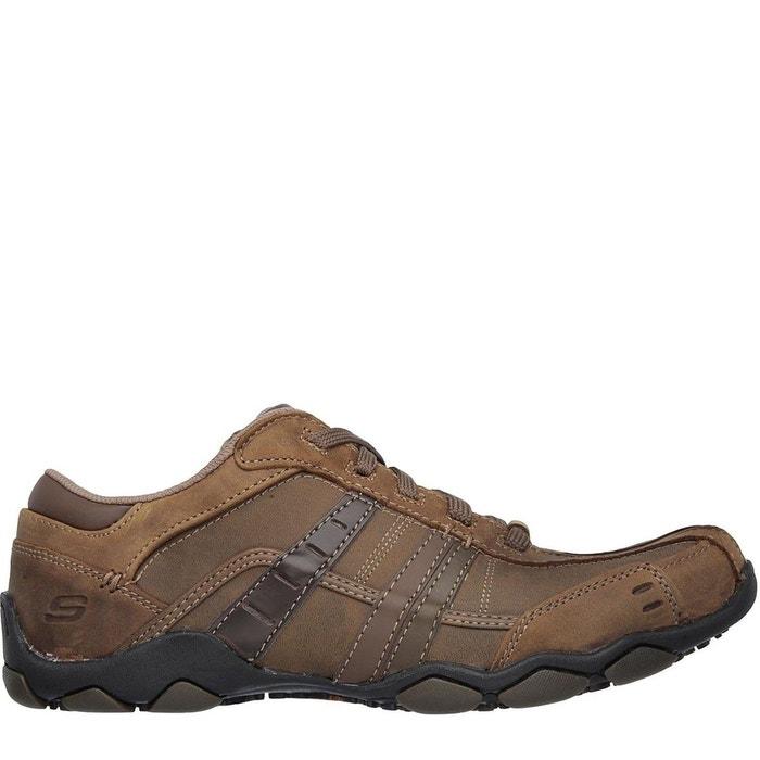 Chaussures décontractées en cuir marron Skechers