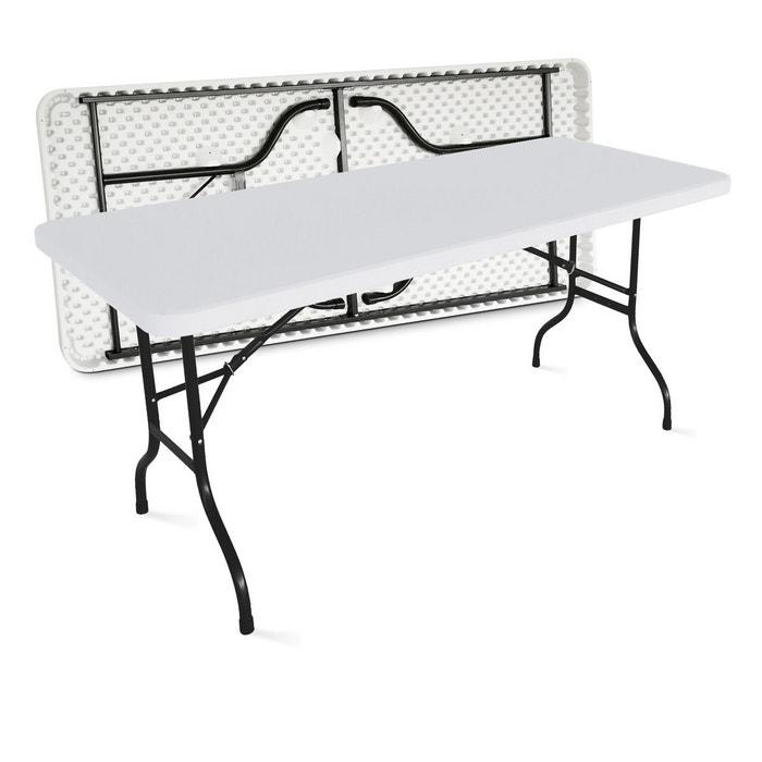 Table de jardin pliante 180cm 8 places buffet traiteur extérieure - Blanc -  180cm x 74cm x 75cm