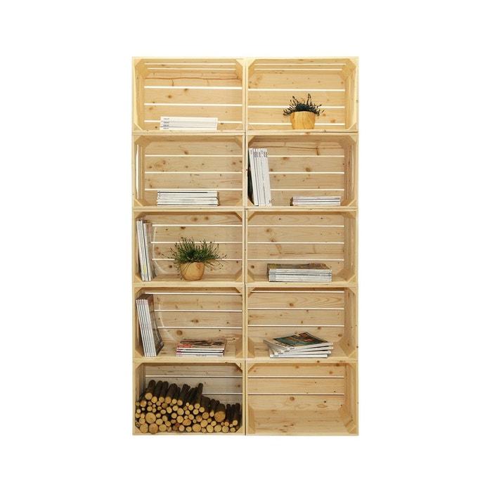 Biblioth que bois modulable et volutive 10 niches marron - La redoute meuble bibliotheque ...