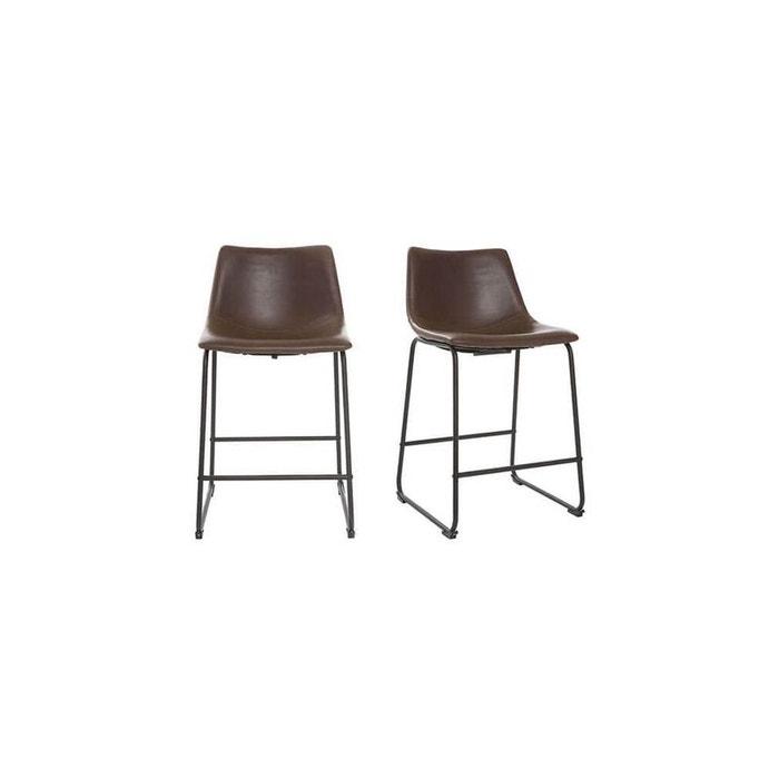 tabouret de bar new rock tdb 63cm marron fonce miliboo la redoute. Black Bedroom Furniture Sets. Home Design Ideas
