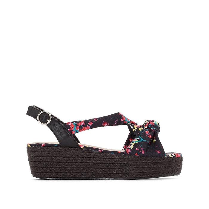 Sandales compensées nouées imprimé japonisant   multicolore Mademoiselle R   La Redoute