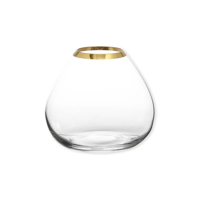 Vase en verre transparent bord or 18cm - KADORA BRUNO EVRARD
