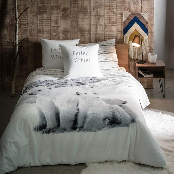 housse de couette imprim e doux hiver blanc gris noir la redoute interieurs la redoute. Black Bedroom Furniture Sets. Home Design Ideas