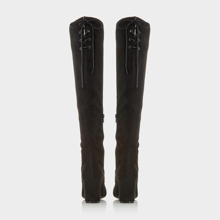 Bottes au genou à lacets - saffy noir micro fibre Head Over Heels By Dune