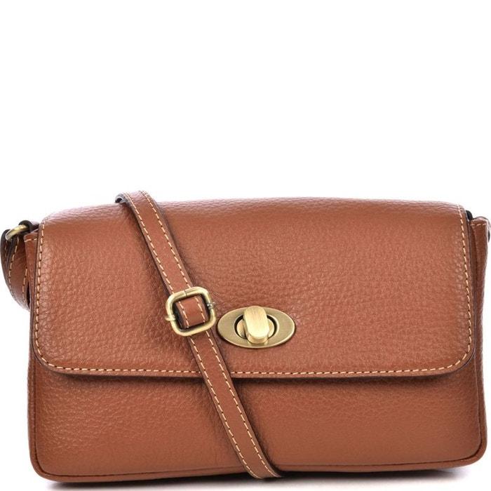 vente chaude en ligne 342fc 4303e Petit sac à main bandoulière en cuir grainé GIGI Camel