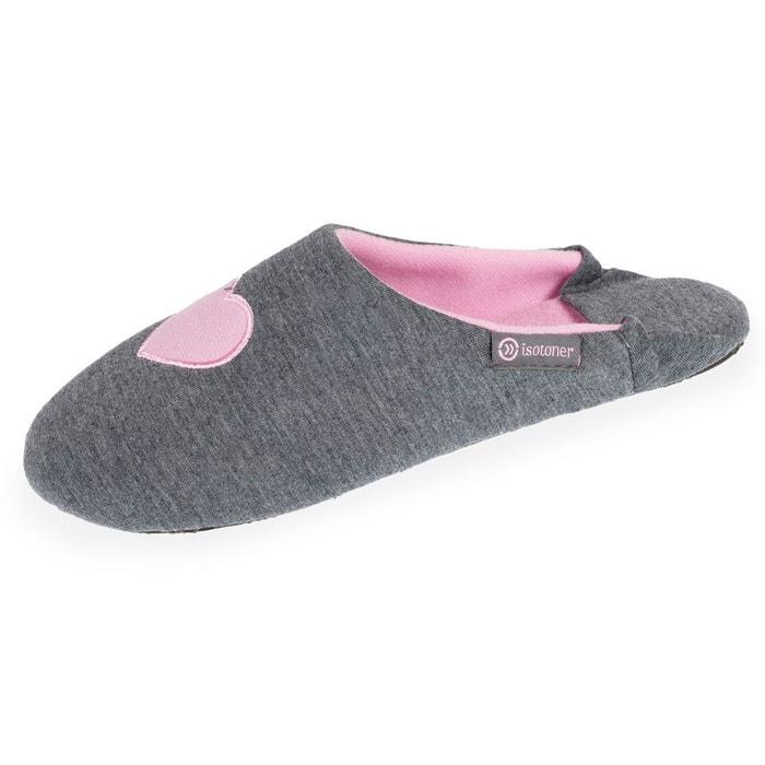 Chaussons babouches femme cur gris Isotoner