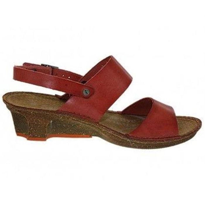 Sandales  /  nu-pieds cuir  rouge Art  La Redoute