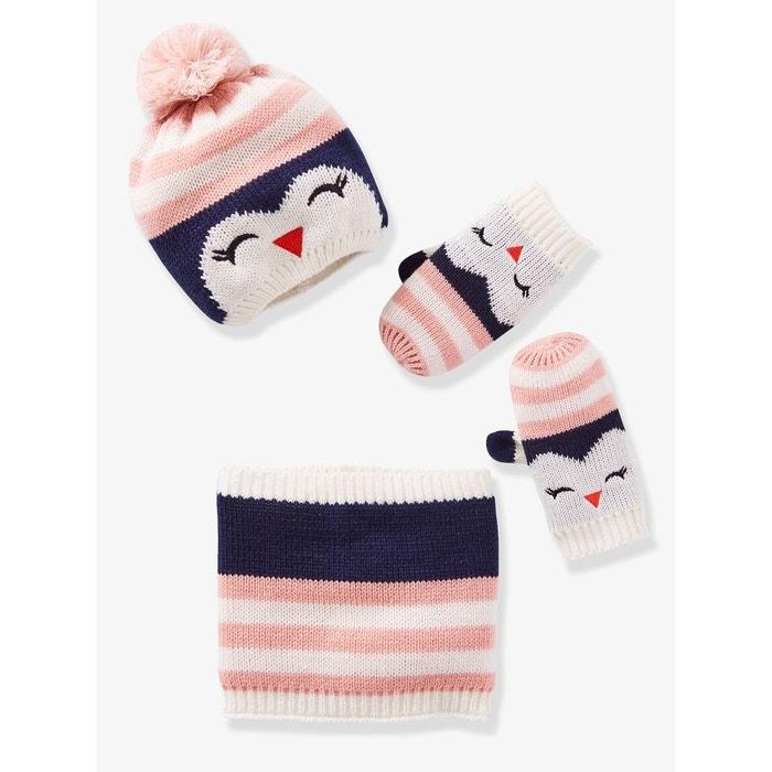 673af3adc78 Bonnet fille + snood + moufles pingouin bleu multicolore Vertbaudet ...