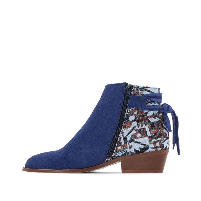 Boots cuir aztèque bleu La Redoute Collections