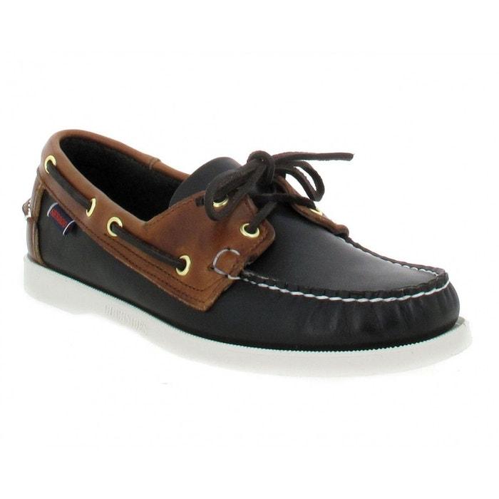 Chaussures bateaux homme sebago docksides spinnaker cuir homme noir + marron noir marron Sebago