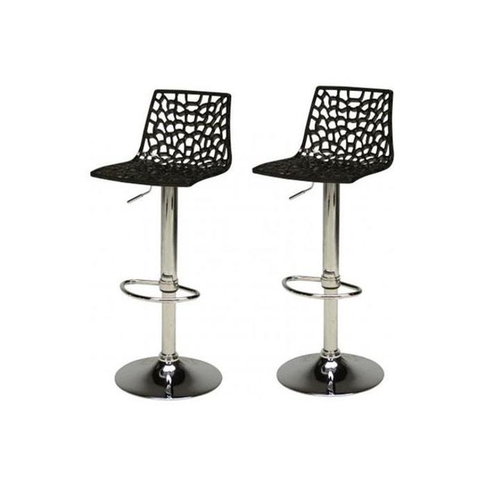 lot de 2 tabourets de bar design noirs smart noir declikdeco la redoute. Black Bedroom Furniture Sets. Home Design Ideas