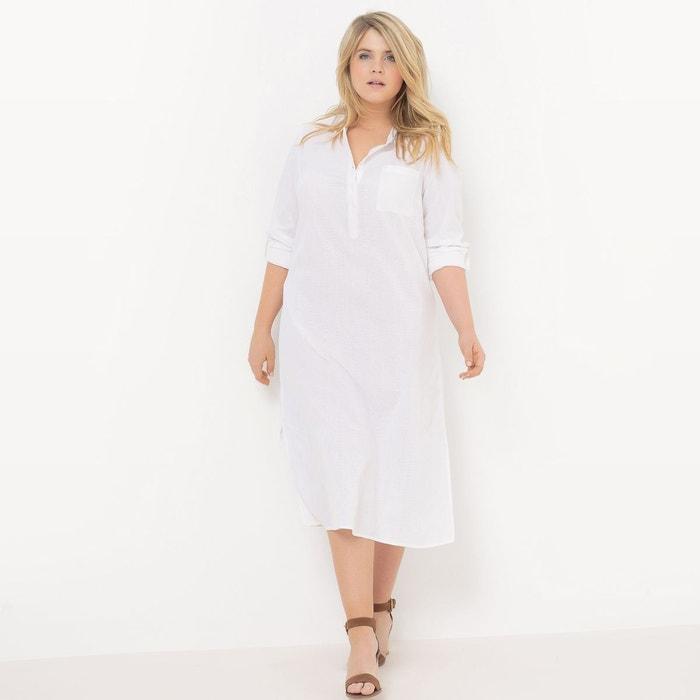 robe liquette manches longues blanc castaluna la redoute. Black Bedroom Furniture Sets. Home Design Ideas