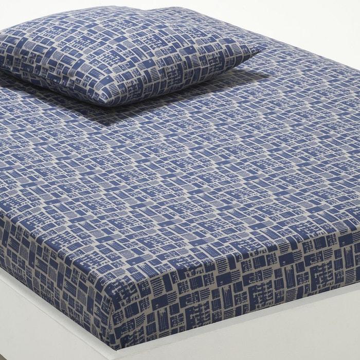 drap housse imprim woox bleu gris la redoute interieurs en solde la redoute. Black Bedroom Furniture Sets. Home Design Ideas