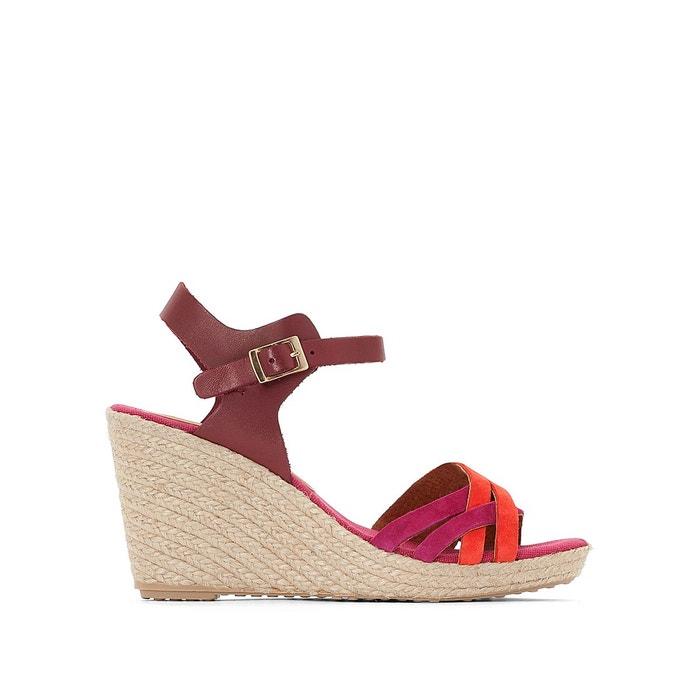Sandales talon compensé myriam marron/bordeaux Pare Gabia