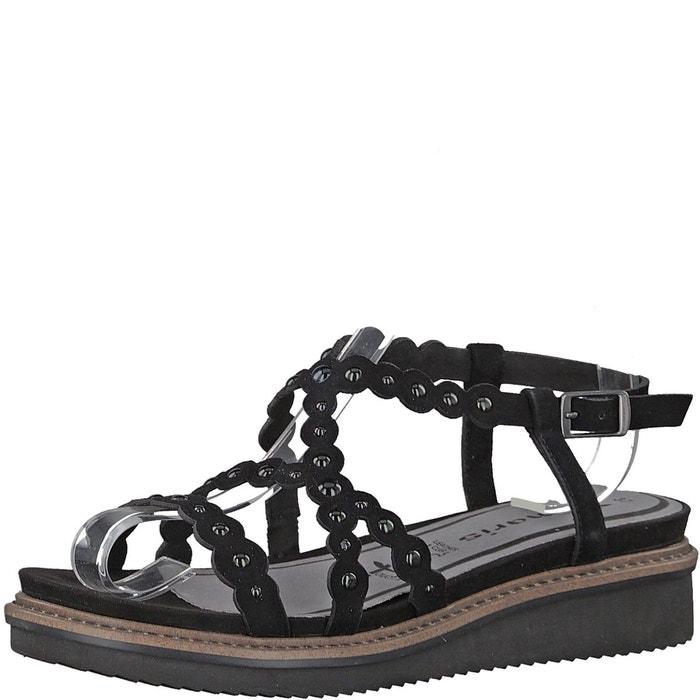 Sandales cuir compensées eda noir Tamaris