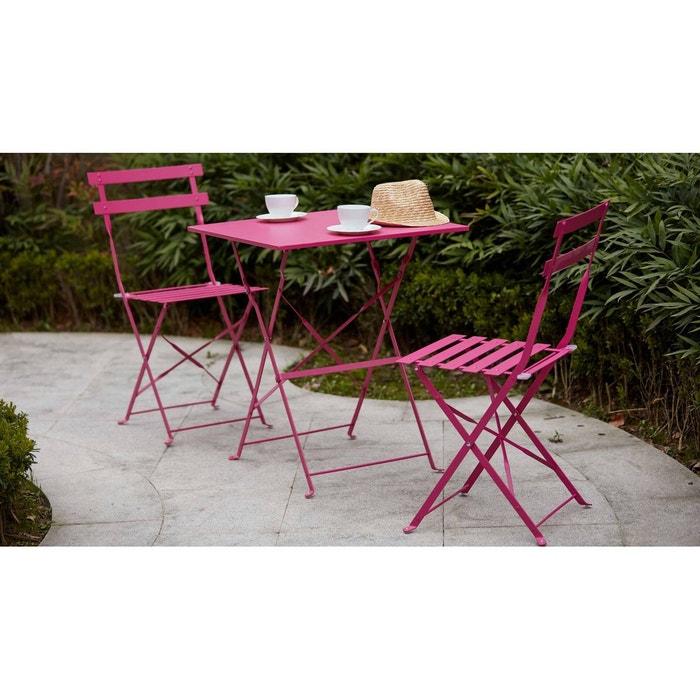 table bistrot de jardin et 2 chaises pliantes oviala la redoute. Black Bedroom Furniture Sets. Home Design Ideas