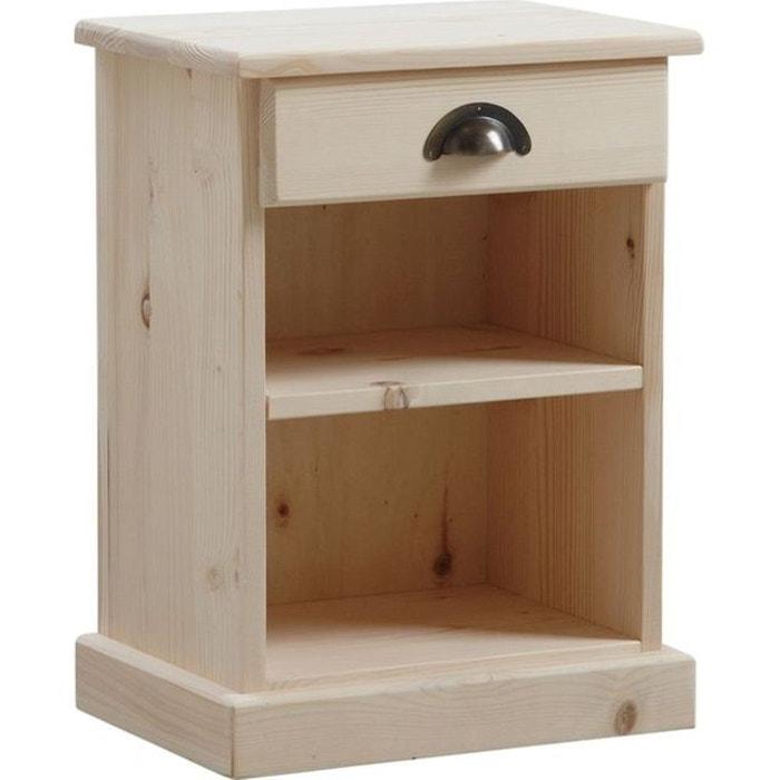 table de nuit bois brut 1 tag re 1 tiroir naturel aubry gaspard la redoute. Black Bedroom Furniture Sets. Home Design Ideas