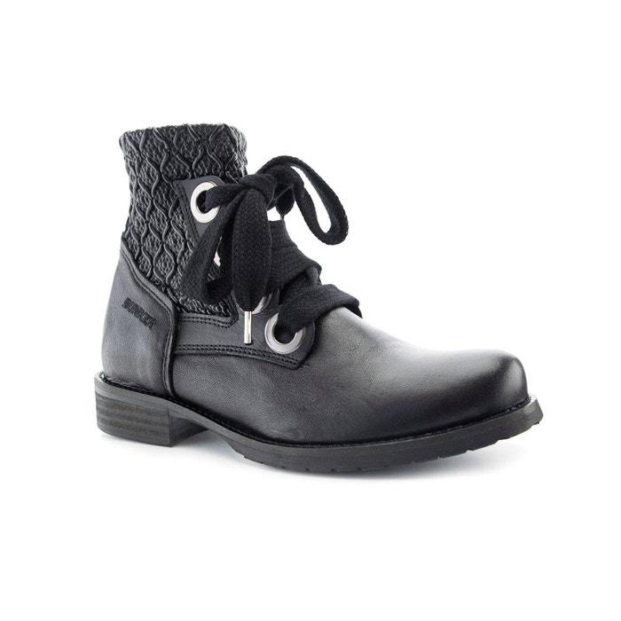 Boots cuir vane noir Bunker