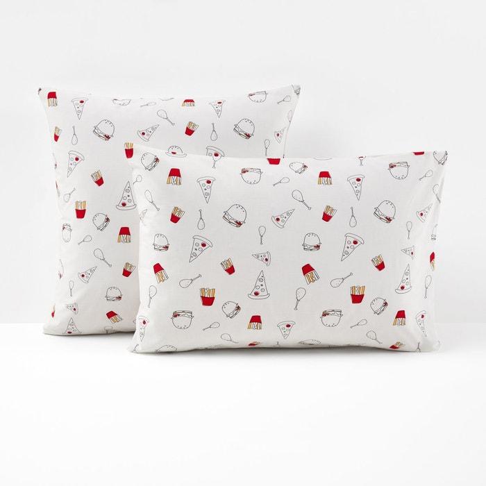 taie d 39 oreiller imprim e burgers blanc multicolore la. Black Bedroom Furniture Sets. Home Design Ideas
