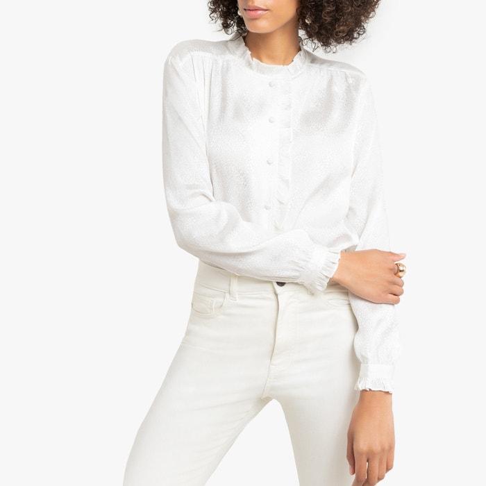 Jacquard blouse, opstaande kraag met volant  LA REDOUTE COLLECTIONS image 0