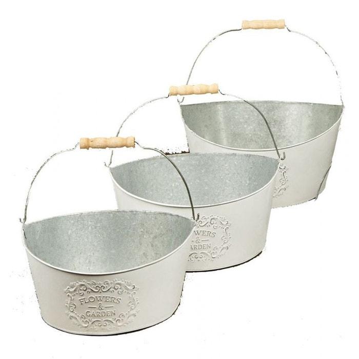 lot de 3 cache pots ovales 39 flowers garden 39 en m tal blanchi et anse bois m tal 26xh11cm m tal. Black Bedroom Furniture Sets. Home Design Ideas
