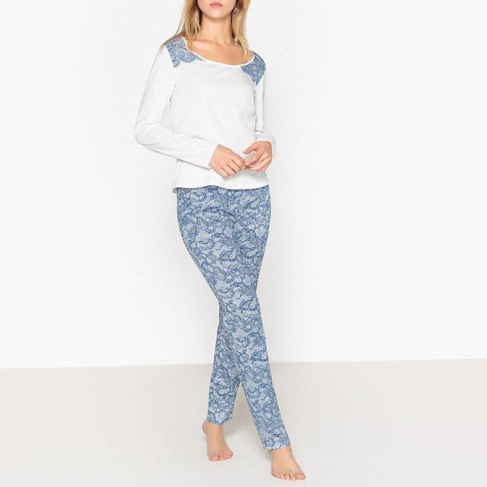 Pyjama en coton, imprimé, dentelle  LA REDOUTE COLLECTIONS image 0