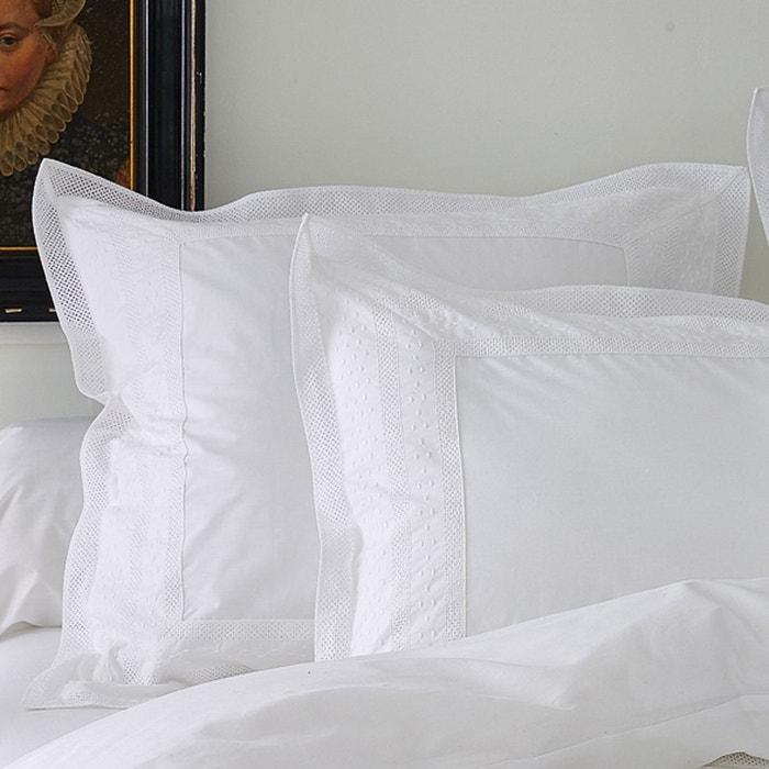 Taie d'oreiller brodée anecdotes blanc blanc Sylvie Thiriez | La Redoute