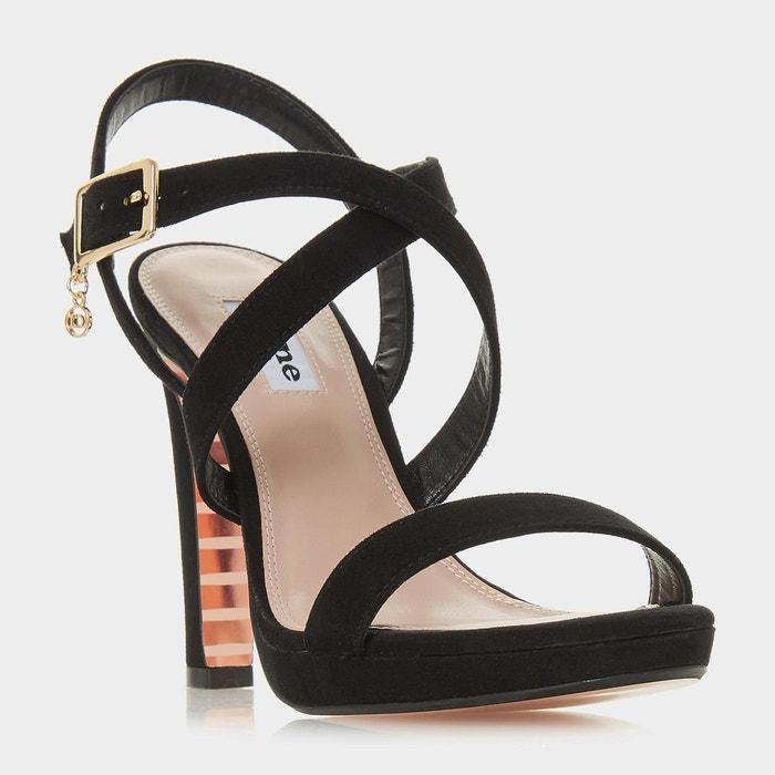 Sandales à talons carrés et brides croisées - misstee  noir daim Dune London  La Redoute