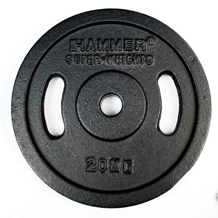paire de disques de musculation noirs 20kg hammer 4655. Black Bedroom Furniture Sets. Home Design Ideas