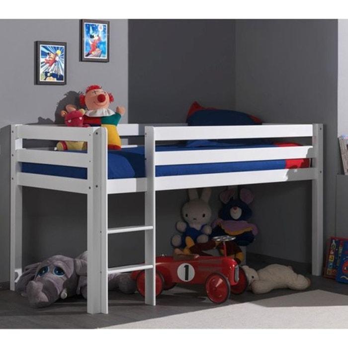 lit mi hauteur 90x200 h113 vadim en h tre blanc blanc alfred et compagnie la redoute. Black Bedroom Furniture Sets. Home Design Ideas