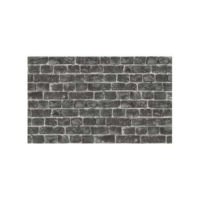 papier peint en trompe l 39 oeil mur en briquettes gris home maison la redoute. Black Bedroom Furniture Sets. Home Design Ideas