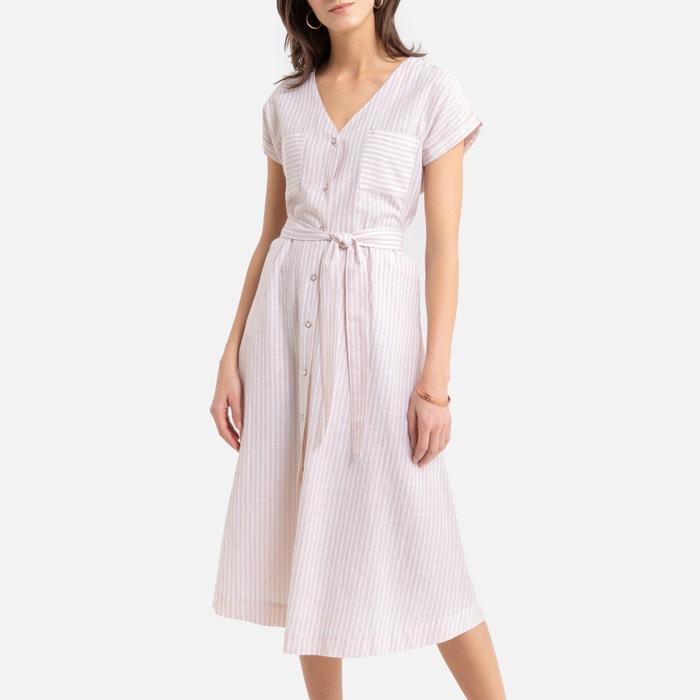 Uitgelezene Wijde lange jurk, gestreept, korte mouwen gestr roze Anne Weyburn AV-97