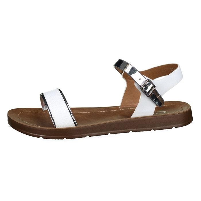 Sandales à lanières blanc Leader Mode