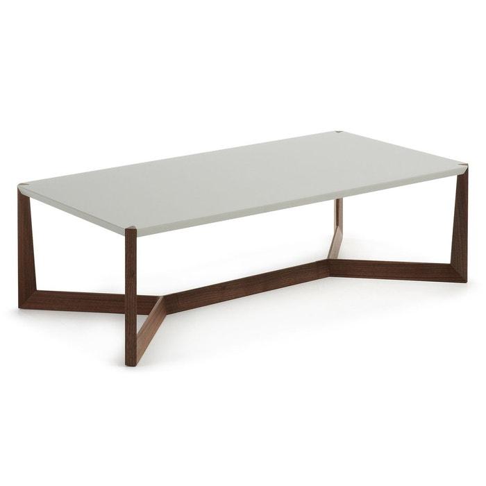 Table basse quatro noyer et gris marron gris kavehome for La redoute table basse