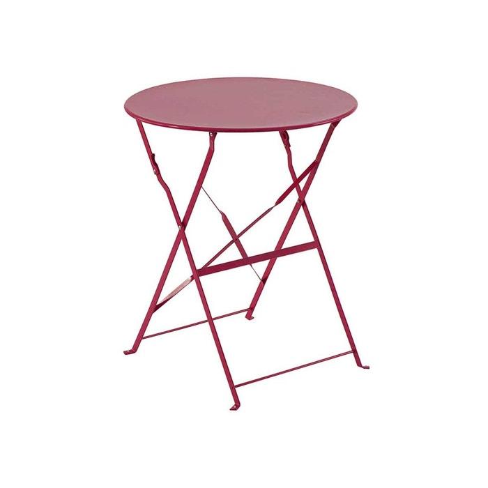 Table de jardin ronde camargue 60 cm framboise couleur for Table de jardin la redoute