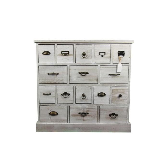 meuble semainier chiffonnier grainetier bois 16 tiroirs ceruse blanc 96x35x92cm blanc decoration. Black Bedroom Furniture Sets. Home Design Ideas