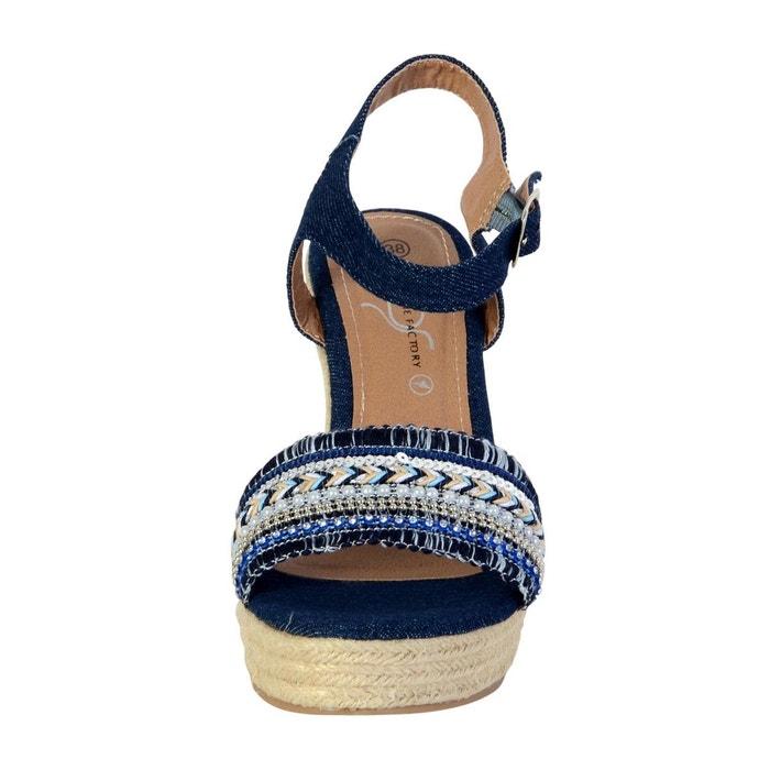 Sandales compensée femme marine bleu The Divine Factory